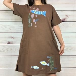 OS - Crazy Fish 100% Linen Dress